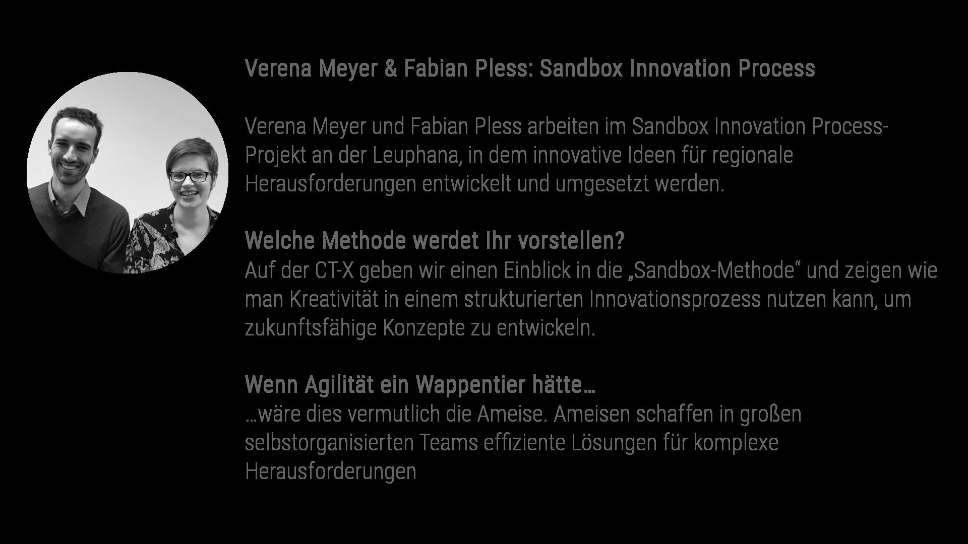 """Verena Meyer & Fabian Pless: Sandbox Innovation Process Verena Meyer und Fabian Pless arbeiten im Sandbox Innovation Process-Projekt an der Leuphana, in dem innovative Ideen für regionale Herausforderungen entwickelt und umgesetzt werden. Welche Methode werdet Ihr vorstellen? Auf der CT-X geben wir einen Einblick in die """"Sandbox-Methode"""" und zeigen wie man Kreativität in einem strukturierten Innovationsprozess nutzen kann, um zukunftsfähige Konzepte zu entwickeln. Wenn Agilität ein Wappentier hätte… …wäre dies vermutlich die Ameise. Ameisen schaffen in großen selbstorganisierten Teams effiziente Lösungen für komplexe Herausforderungen"""